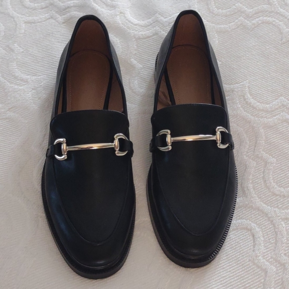 H&M Black Loafers with decorative metal horsebit.